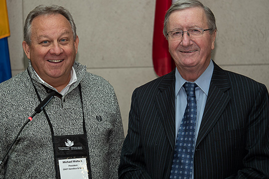 Michael Walters, President of the Hamilton & District Branch (left) and Federal Retirees' President Jean-Guy Soulière (right).