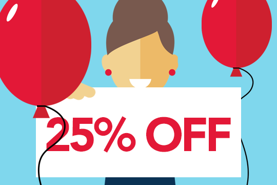Image of a lady with balloons holding a 25% off sign.