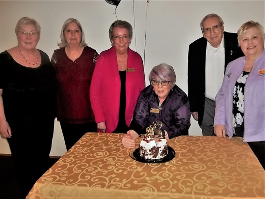 Celebrating the 50th Anniversary of Quinte Branch.  From left to right: Joan Rockburne, Kathy Nisbet, Nancy Landry, Pat Russell, Ken Capstick and Diane Raniowski.