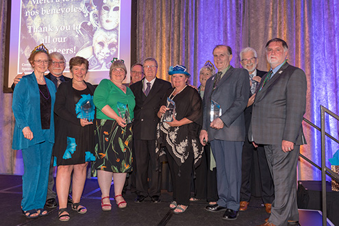 President Jean-Guy Soulière poses with the 2018 branch award winners. From left, Dorian Guerard, Lionel Guerard, Ceci O'Flaherty, Donna Dobson, Tom Higham, Jean-Guy Soulière, Paula Nygaard, Leslie Gaudette, Bernd Hirsekorn, Jean-Marc Demers and Ian Blake.