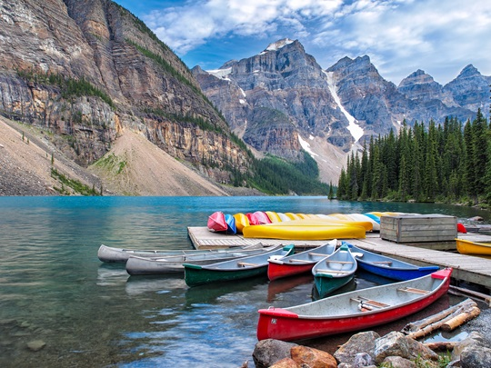 Canoes in the mountains