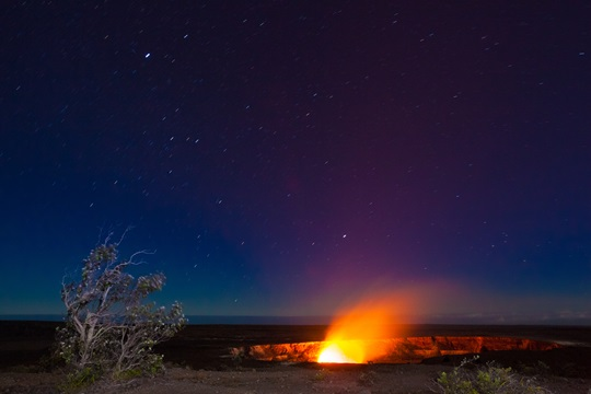 Erupting volcano in Hawaii Volcanoes National Park, Big Island, Hawaii.