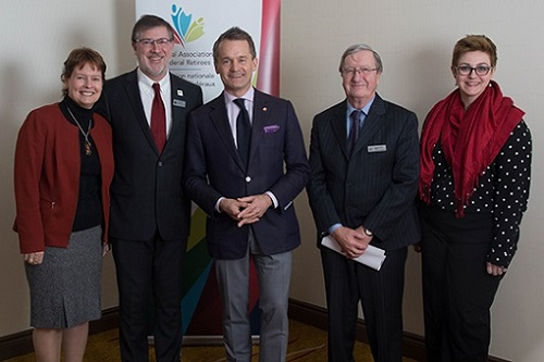 From left to right:  Deborah Krause, Manager, Governance; Simon Coakeley, CEO; the Honourable Seamus O'Regan, Minister of Veterans Affairs; Jean-Guy Soulière, President; Sayward Montague, Director, Advocacy