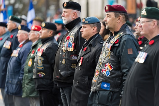 Veterans at a Remembrance Day ceremony, Citadelle in Québec City, Québec, November 11, 2016.