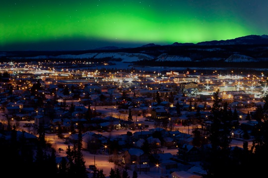 NJorthern lights over downtown Whitehorse.